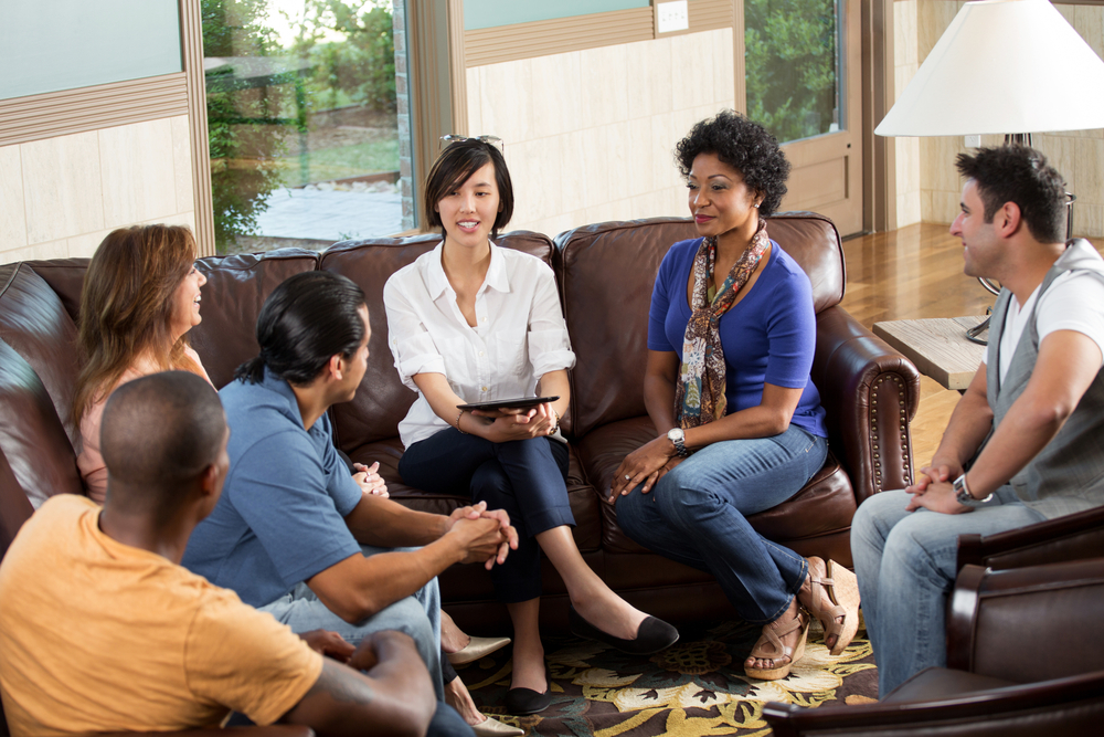 DBT Groups - Groups of adults sitting and talking